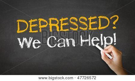 Depressed We Can Help Chalk Illustration