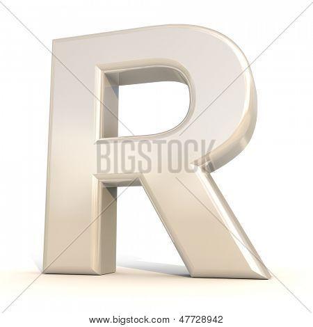 3D alfabeto, letra R, isolado no fundo branco