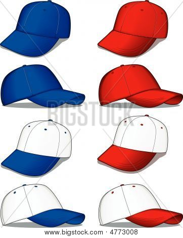 Baseball Caps In Blue And Red