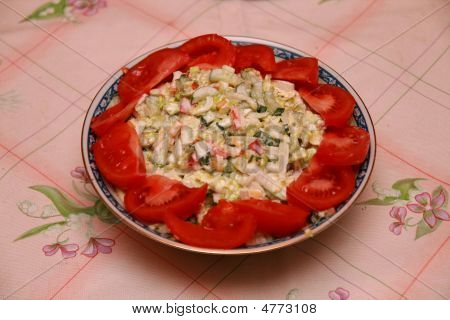 Salad With Meat And Tomatoo