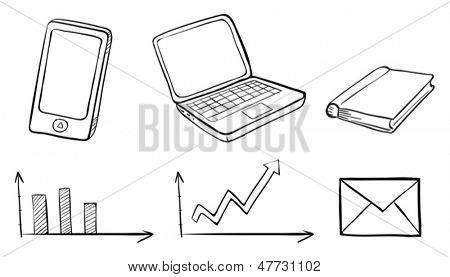 Ilustración de un garabato conjunto de los diferentes gadgets sobre un fondo blanco