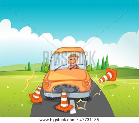 Illustration of a reckless driver bumping the traffic cones
