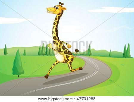Illustration of a giraffe running along the road