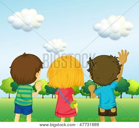 Ilustração do backview de três crianças