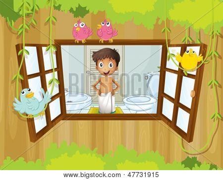 Ilustração de um menino com uma toalha dentro do banheiro