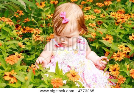 Girl Sitting In Flowers
