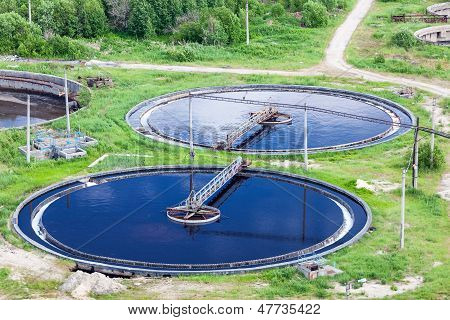 Aerial View Of Water Treatment Plant With Round Settlers