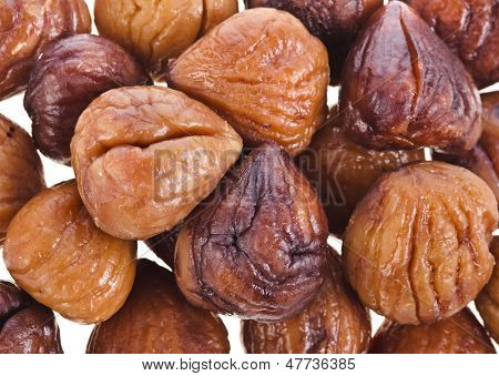Cooked chestnut fruit tot view surface background