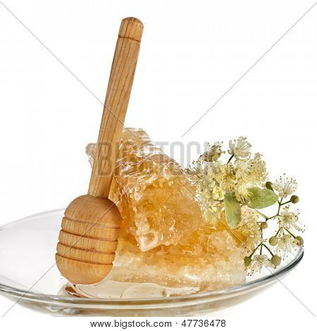 sweet linden honey in the tea saucer and wooden drizzler, isolated on white background
