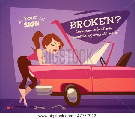 Broken car. Vector retro styled illustration.