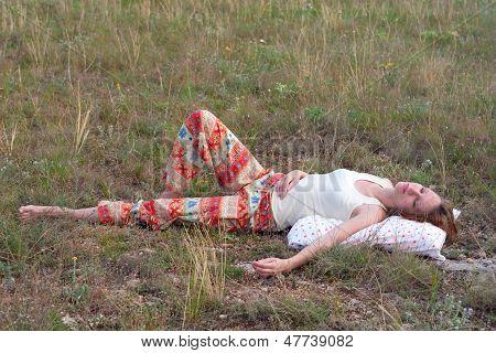 Beautiful Woman Sleep In The Meadow