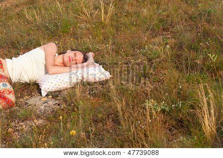 Beautiful Woman Sleep On The Pillow