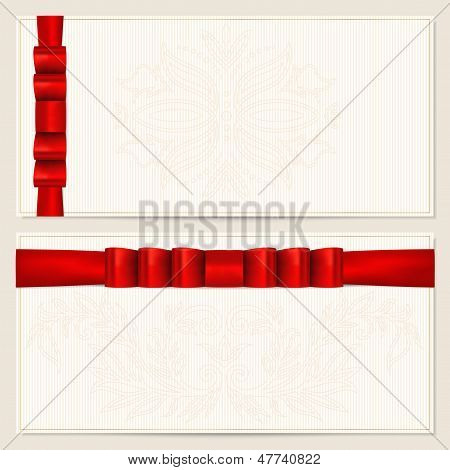 Voucher (Gift certificate, Coupon, Gift card) template with bow (ribbons). Design for check (cheque)