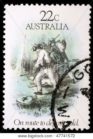 AUSTRALIA - CIRCA 1981: A stamp printed in Australia dedicated to the gold rush era, shows on route to deposit gold, circa 1981