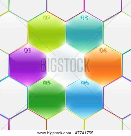 Colorful spreadsheet with polyhedron (hexagon, box). Business banners