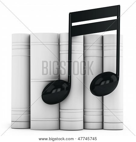 3D  Books With Musical Note