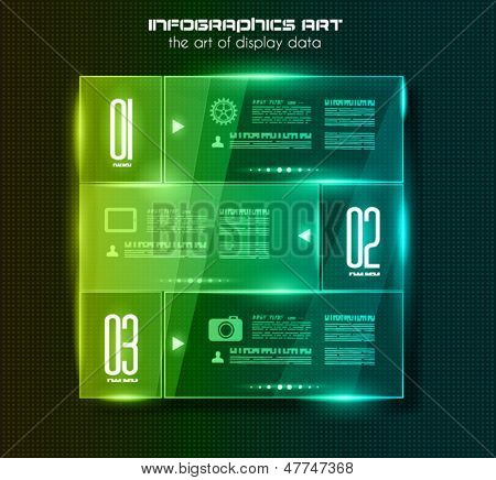 Infographic design template with glass surfaces.and spotlights. Ideal to display information, ranking and statistics with orginal and modern style.