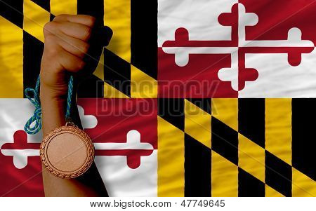 Bronze Medal For Sport And  Flag Of American State Of Maryland