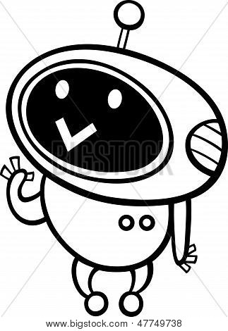 Cartoon Kawaii Robot Coloring Page