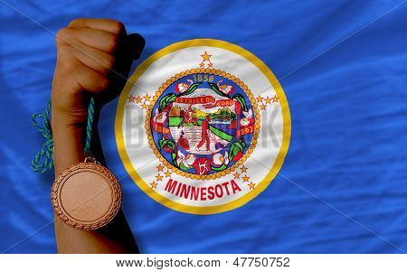 Bronze Medal For Sport And  Flag Of American State Of Minnesota