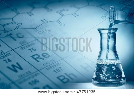 Science concept,Pouring liquid into flask.
