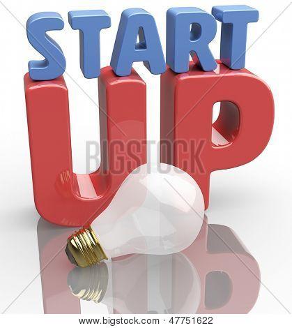 Negocio arranque comienza con la nueva bombilla de idea