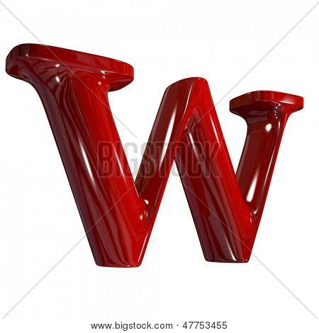 3d shiny red plastic ceramic letter in perspective - w