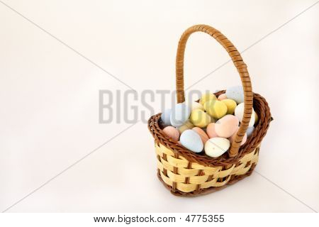 Miniature Wicker Basket Of Sugar Coated Eggs
