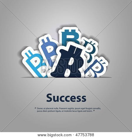 Success - Vector Illustration of Bitcoin Designs