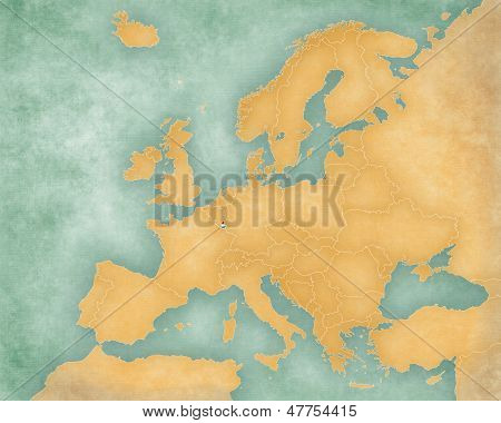 Map Of Europe - Luxembourg (summer Style)