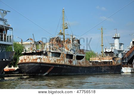 Old ship standing in port