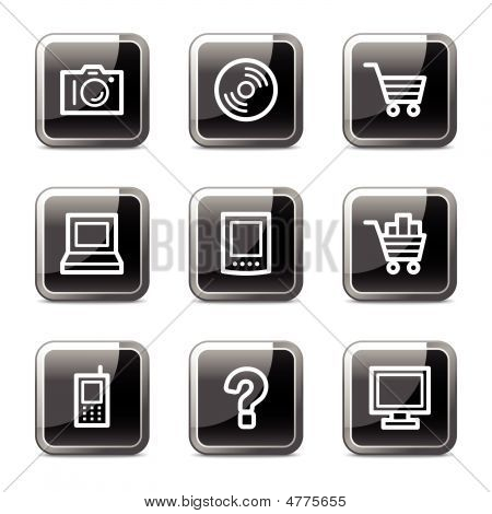 Electronics Web Icons, Black Square Glossy Buttons Series