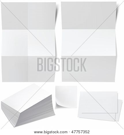 Blanks White Paper, Business Cards, A Stack Of Business Cards. Vector Illustration