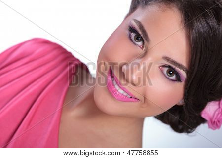 closeup of beauty woman smiling at you