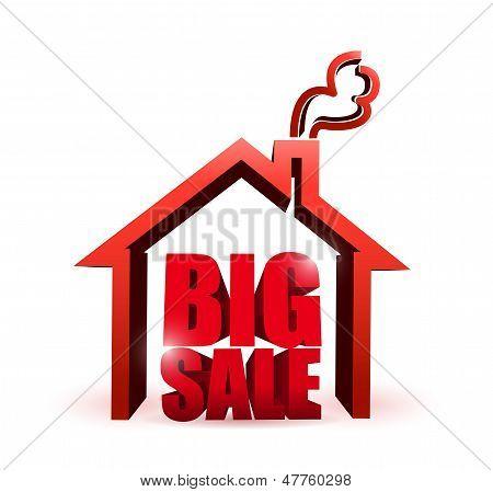 House Market Big Sale Sign Illustration