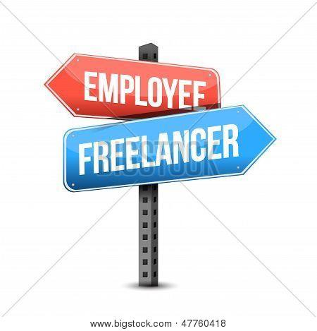 Employee Or Freelancer Road Sign Illustration
