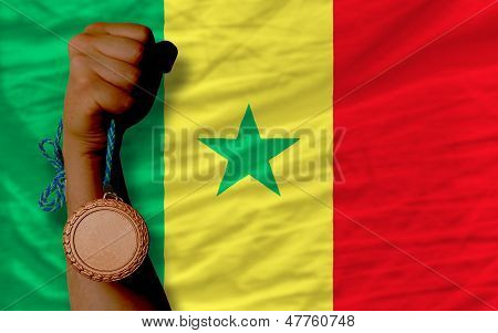 Bronze Medal For Sport And  National Flag Of Senegal