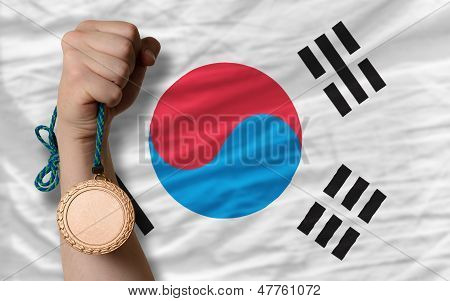 Bronze Medal For Sport And  National Flag Of South Korea