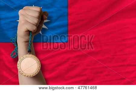 Bronze Medal For Sport And  National Flag Of Taiwan