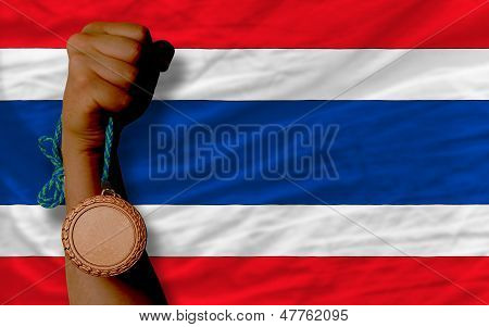 Bronze Medal For Sport And  National Flag Of Thailand