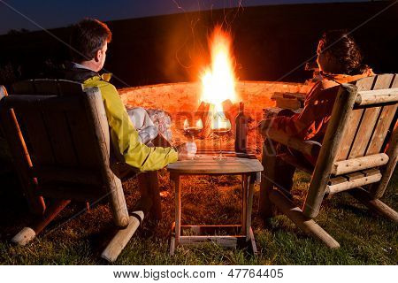 Couple by the bonfire