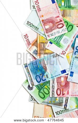 euro banknotes on white background