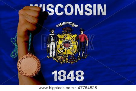 Bronze Medal For Sport And  Flag Of American State Of Wisconsin