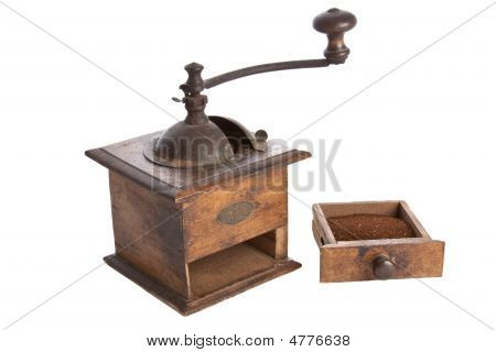 Old Manual Coffee Grinder Machine Wooden Made