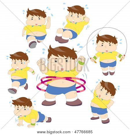 Illustration Of Overweight Boy Fitness Collection