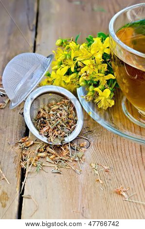 Herbal Tea From Tutsan Dry In Strainer With Cup