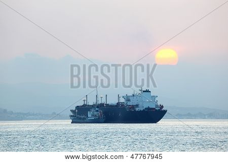 Tanker Ship At Sunset