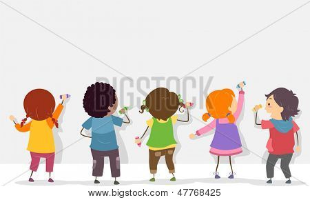 Back View Illustration of Stickman Kids Writing on a Blank Board with Crayons