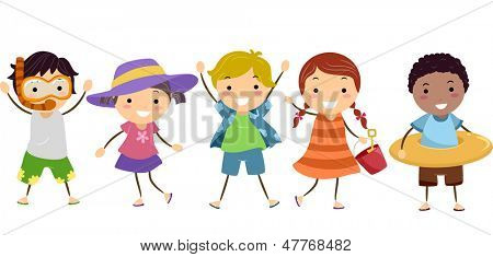 Illustration of Stickman Kids in Summer Outfit with Summer Gear