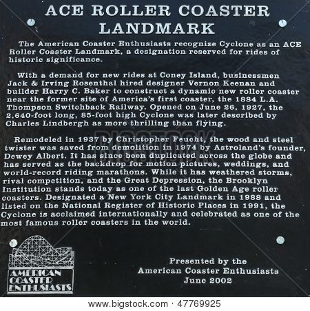 Historical Cyclone roller coaster landmark sign at the Coney Island  in Brooklyn